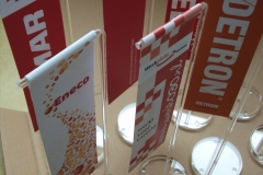 Luxury table banners and table flags, a stylish and suitable medium for diverse purposes inside the office, sales and conference rooms.